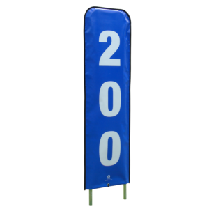 vertical blue and white distance marker