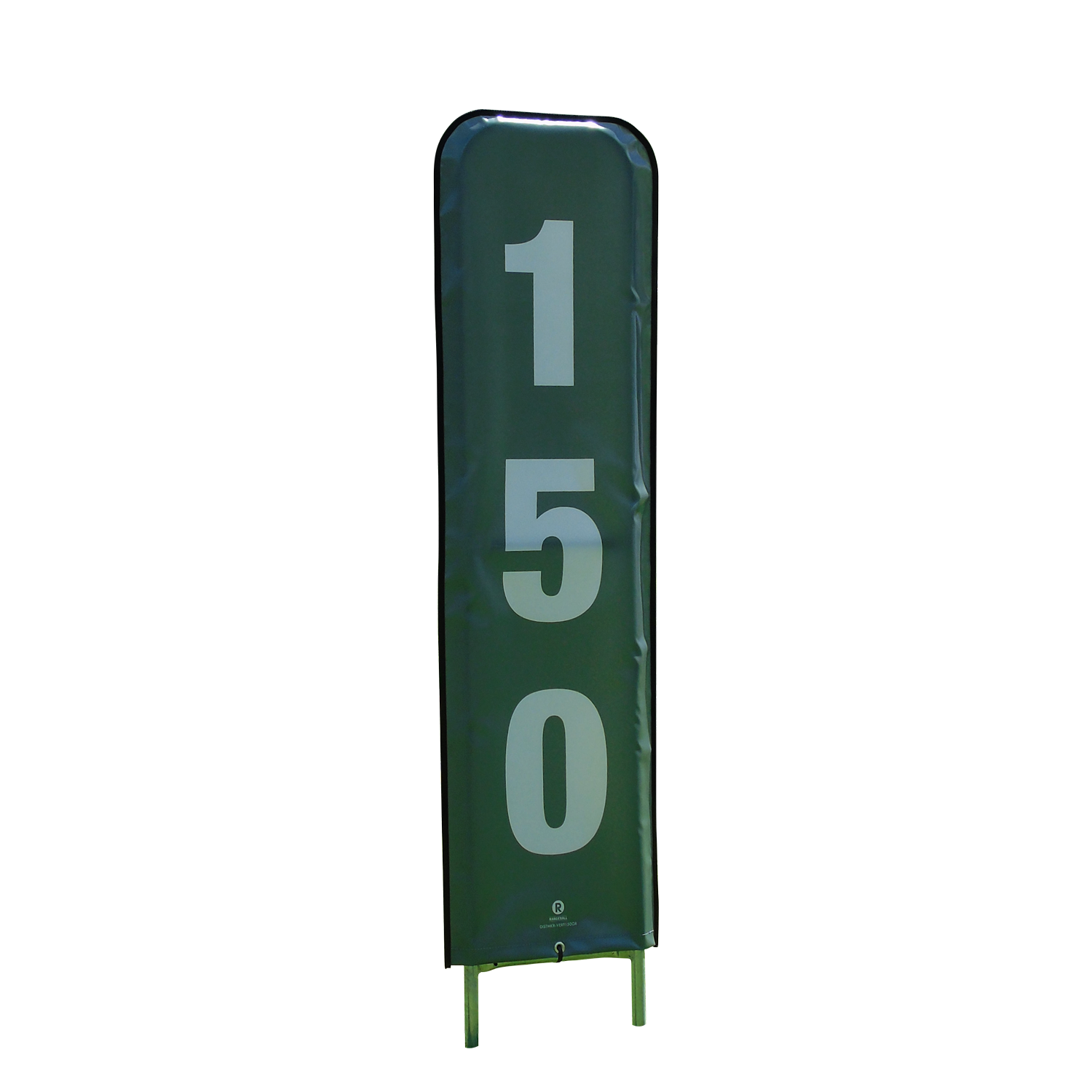 grey and white vertical distance marker
